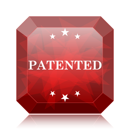 plagiarism: Patented icon, red website button on white background.
