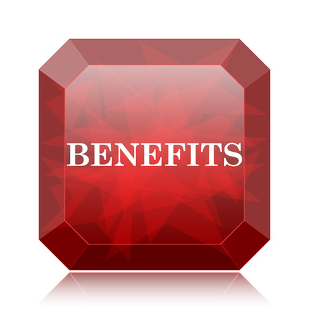 Benefits icon, red website button on white background. Stock Photo