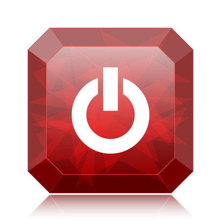 Power button icon, red website button on white background.