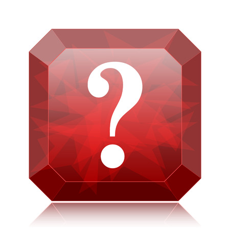 Question mark icon, red website button on white background.