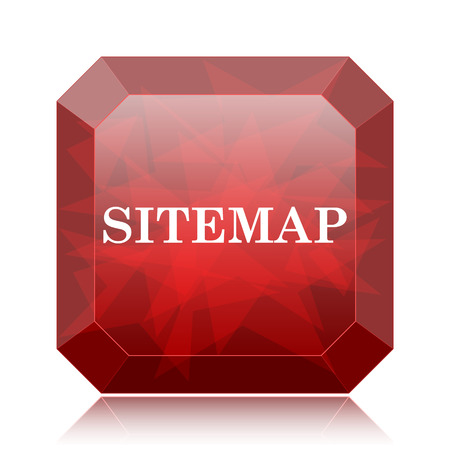 Sitemap icon, red website button on white background.