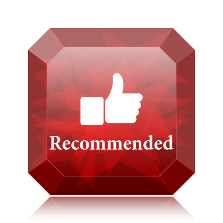 Recommended icon, red website button on white background.