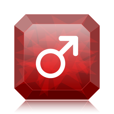 Male sign icon, red website button on white background.