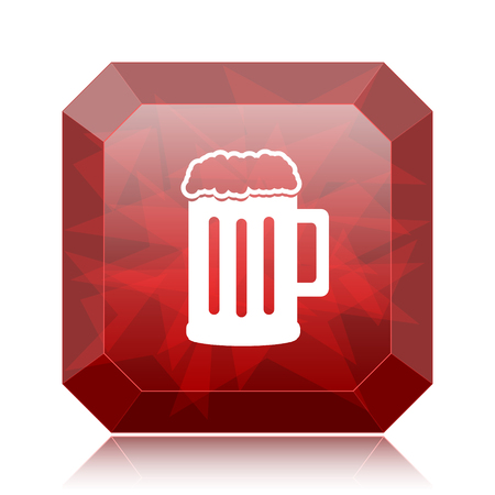 Beer icon, red website button on white background.