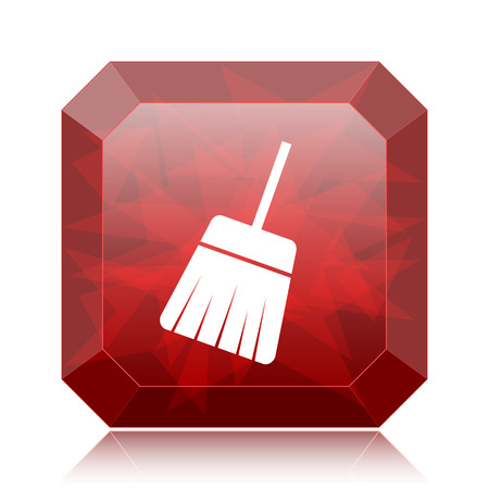 Sweep icon, red website button on white background. Stock Photo