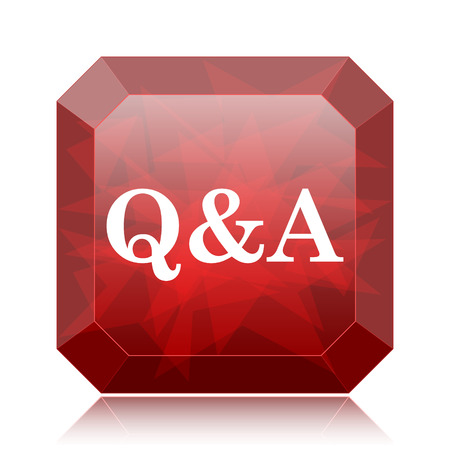 Q&A icon, red website button on white background.