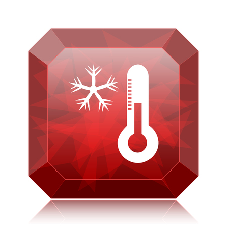 Snowflake with thermometer icon, red website button on white background.