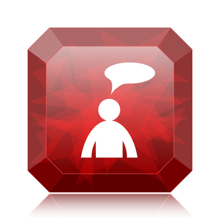 Comments icon, red website button on white background. - man with bubble
