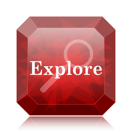 explore: Explore icon, red website button on white background.