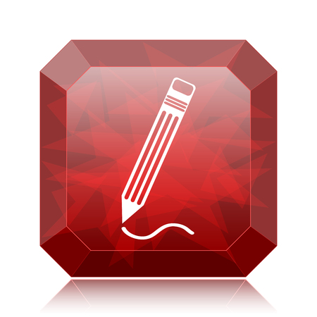 Pen icon, red website button on white background. Stock Photo
