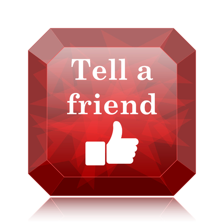 Tell a friend icon, red website button on white background.
