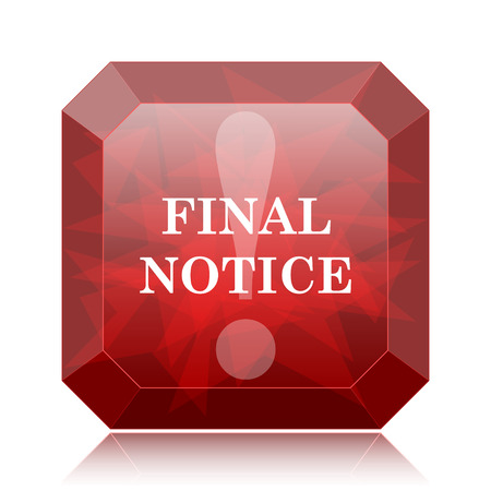 Final notice icon, red website button on white background.