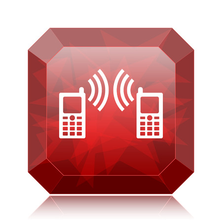 palmtop: Communication icon, red website button on white background.