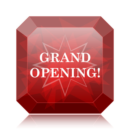 grand sale button: Grand opening icon, red website button on white background. Stock Photo