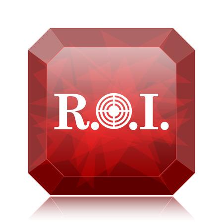 ROI icon, red website button on white background.