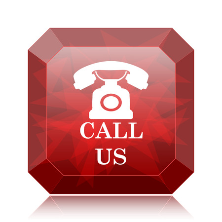 Call us icon, red website button on white background.