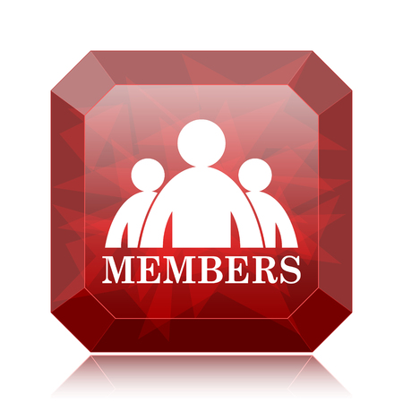 Members icon, red website button on white background.