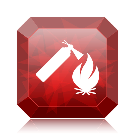 Fire icon, red website button on white background.