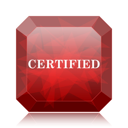 Certified icon, red website button on white background. Stock Photo
