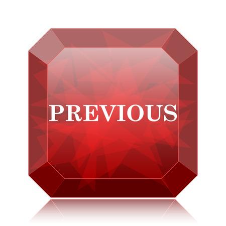 Previous icon, red website button on white background. Reklamní fotografie