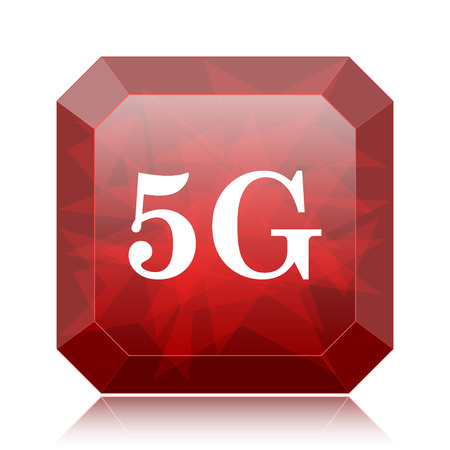 5G icon, red website button on white background.