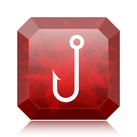 Fish hook icon, red website button on white background.
