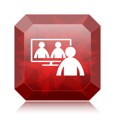 Video conference, online meeting icon, red website button on white background.