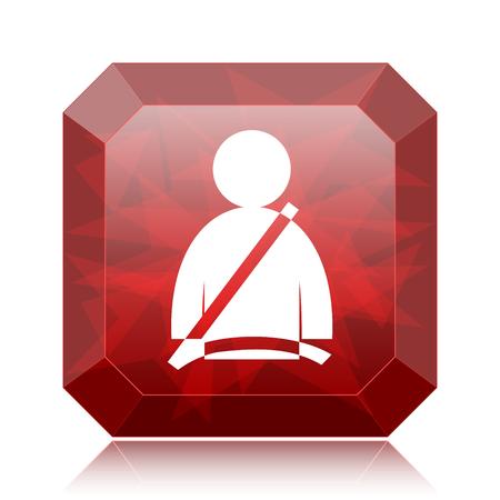 Safety belt icon, red website button on white background.