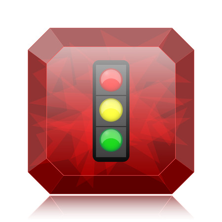 Traffic light icon, red website button on white background.