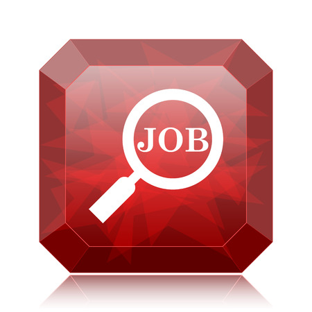 Search for job icon, red website button on white background.