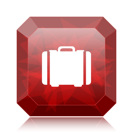 Suitcase icon, red website button on white background.