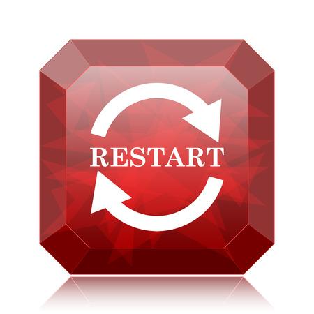Restart icon, red website button on white background. Stock Photo