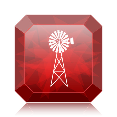 Classic windmill icon, red website button on white background.