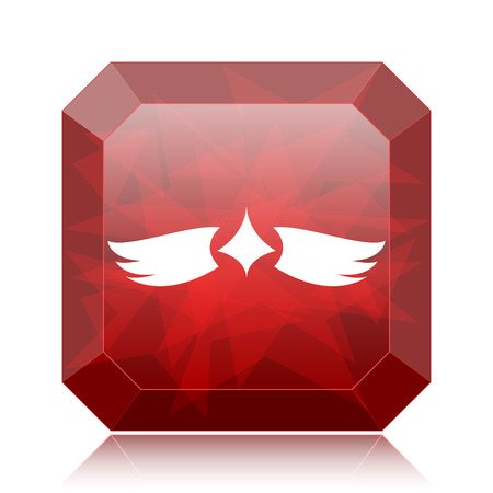 Wings icon, red website button on white background.