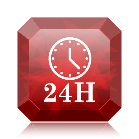 24H clock icon, red website button on white background.