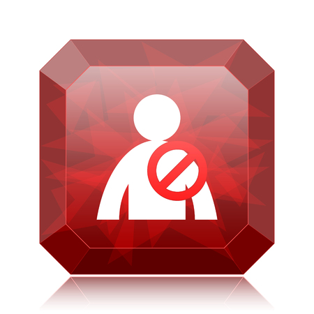 User offline icon, red website button on white background. Stock Photo