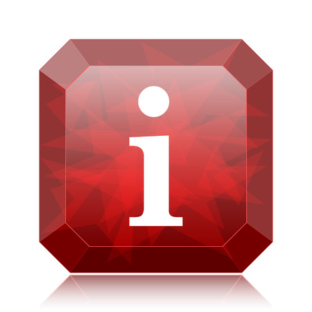 Info icon, red website button on white background.