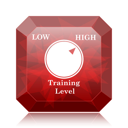 Training level icon, red website button on white background.
