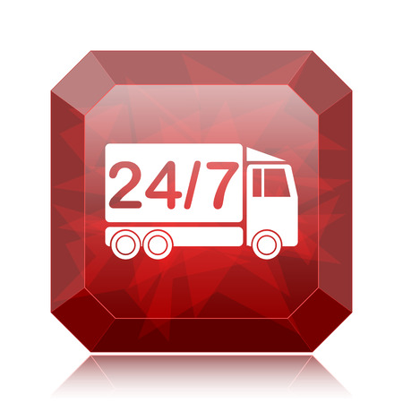24 7 delivery truck icon, red website button on white background.