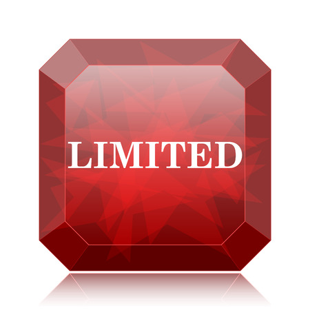 auction off: Limited icon, red website button on white background.