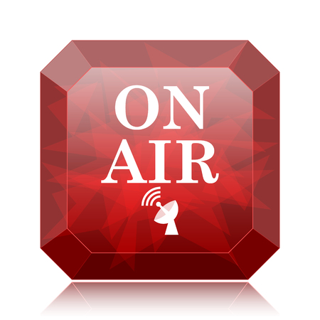 On air icon, red website button on white background. Stock Photo