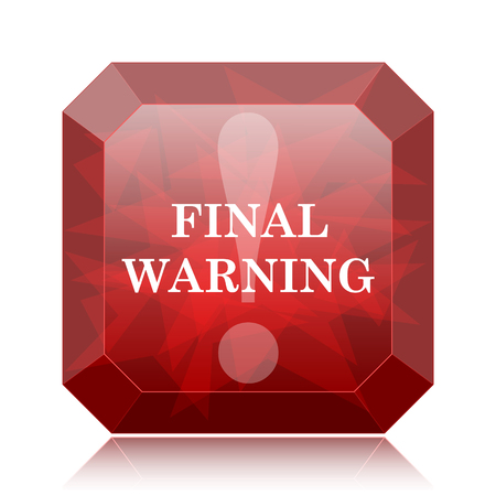 Final warning icon, red website button on white background.