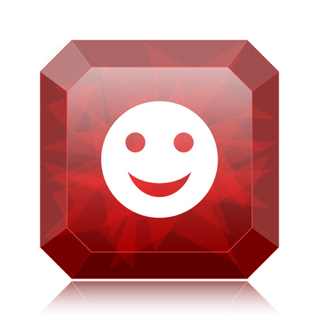 Smiley icon, red website button on white background.