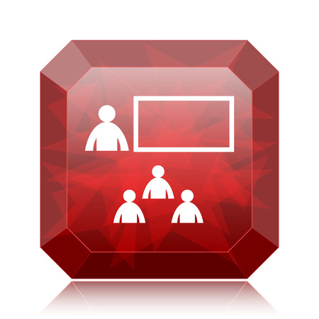 stage coach: Presenting icon, red website button on white background. Stock Photo