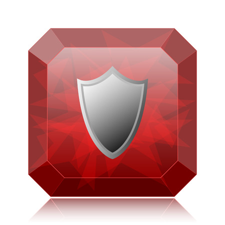 Shield icon, red website button on white background. Stock Photo