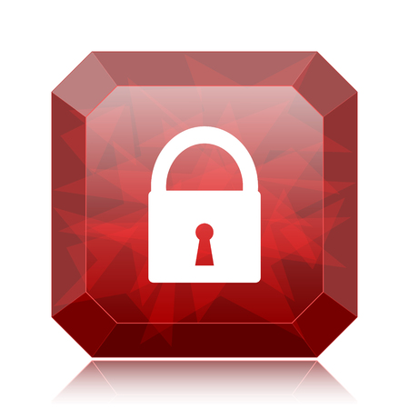 Lock icon, red website button on white background.