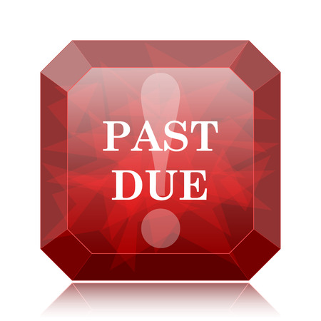 expired: Past due icon, red website button on white background. Stock Photo
