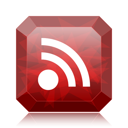 Rss sign icon, red website button on white background.