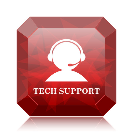 laptop repair: Tech support icon, red website button on white background. Stock Photo