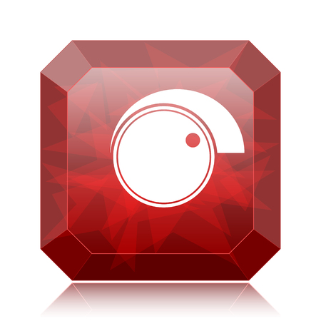 volume control: Volume control icon, red website button on white background.